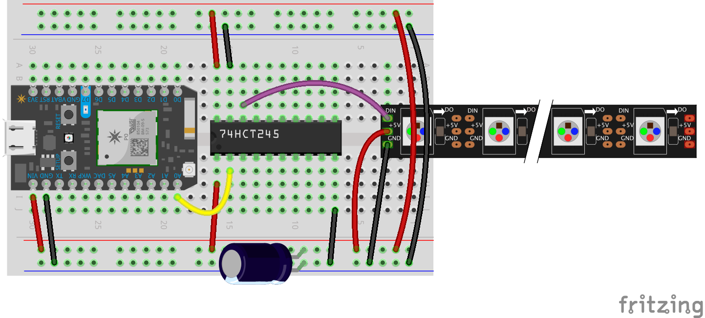Particle Memory Limitations And Workarounds Flashgamer Cd 4013 Toggle Switch Design Trick 1 Electronics Hobby Connecting Photon To Neopixels Using 74hct245